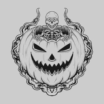 Diseño de tatuaje y camiseta esqueleto dibujado a mano en blanco y negro en calabaza