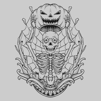 Diseño de tatuaje y camiseta esqueleto dibujado a mano en blanco y negro con máscara de calabaza