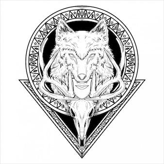Diseño de tatuaje y camiseta ilustración dibujada a mano en blanco y negro cabeza de lobo humano y cráneo de venado en círculo y triángulo