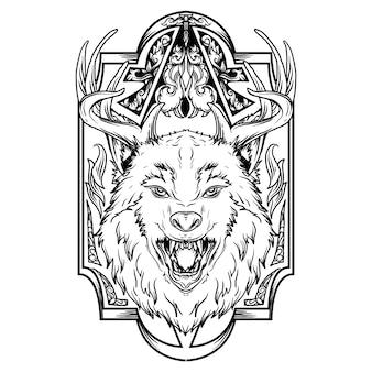 Diseño de tatuaje y camiseta ilustración dibujada a mano en blanco y negro ciervo lobo con adorno