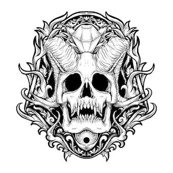 Diseño de tatuaje y camiseta ilustración dibujada a mano en blanco y negro