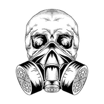 Diseño de tatuaje y camiseta máscara de gas de calavera