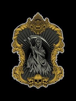 Diseño de tatuaje y camiseta segador en marco ornamento