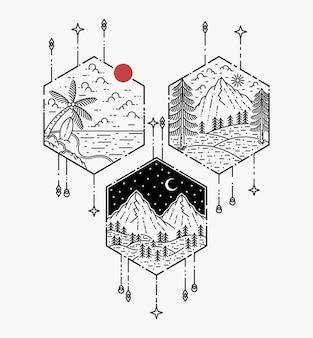 Diseño de tatuaje geométrico con paisaje