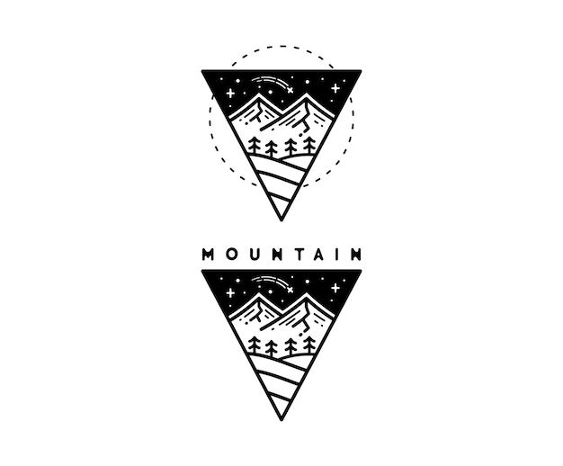 Diseño de tatuaje de paisaje de montaña monoline