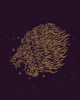 Diseño de tatuaje vintage de cabeza de león