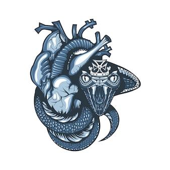 Diseño de tatuaje vintage con cobra y corona que cubre un corazón humano.