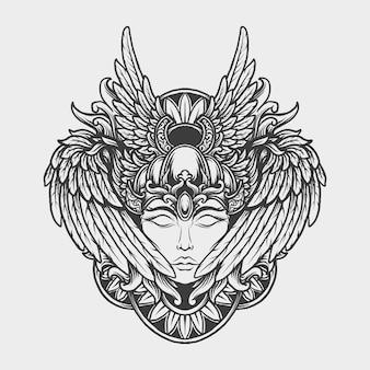 Diseño de tatuajes y camisetas en blanco y negro dibujado a mano adorno de grabado de aves humanas