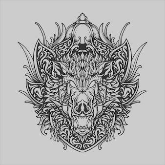 Diseño de tatuajes y camisetas en blanco y negro dibujado a mano adorno de grabado de jabalí