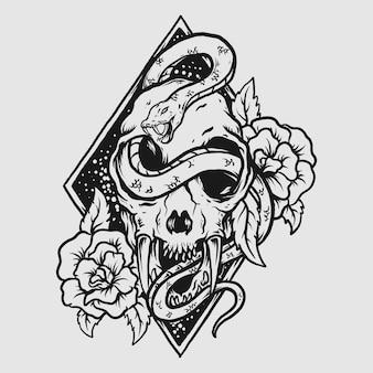 Diseño de tatuajes y camisetas en blanco y negro dibujado a mano cráneo de tigre con rosa y serpiente