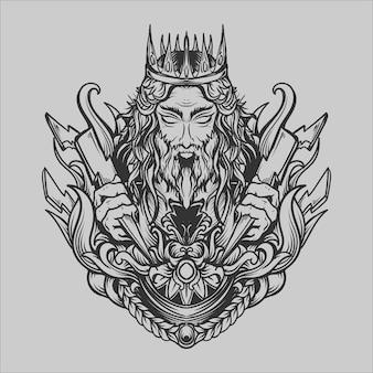 Diseño de tatuajes y camisetas en blanco y negro dibujado a mano dios zeus grabado adorno