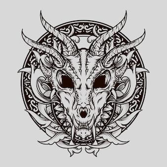 Diseño de tatuajes y camisetas en blanco y negro dibujado a mano dragón cráneo grabado adorno