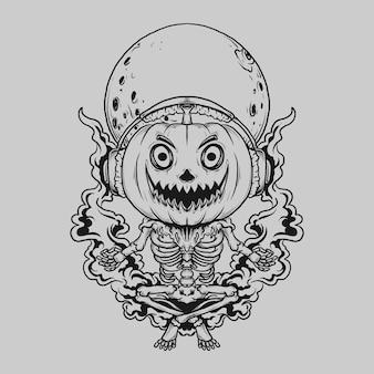 Diseño de tatuajes y camisetas en blanco y negro dibujado a mano esqueleto calabaza meditación