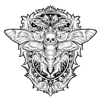 Diseño de tatuajes y camisetas en blanco y negro dibujado a mano ilustración polilla cráneo grabado ornamento