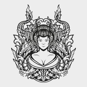 Diseño de tatuajes y camisetas en blanco y negro geisha dibujada a mano y adorno de grabado de dragón