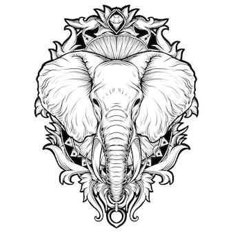 Diseño de tatuajes y camisetas en blanco y negro ilustración dibujada a mano elefante grabado ornamento