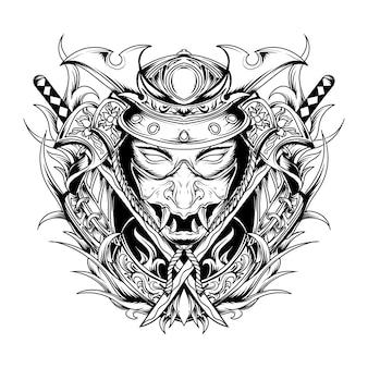 Diseño de tatuajes y camisetas en blanco y negro ilustración dibujada a mano ron samurai grabado ornamento