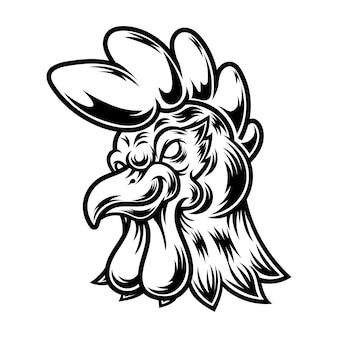 Diseño de tatuajes y camisetas en blanco y negro ilustración de gallo