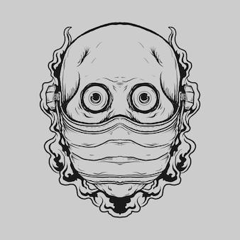 Diseño de tatuajes y camisetas calavera dibujada a mano en blanco y negro con máscara