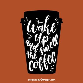Diseño de taza de café con lettering