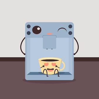 Diseño con taza de café y personaje de máquina de café. ilustración vectorial de dibujos animados divertidos