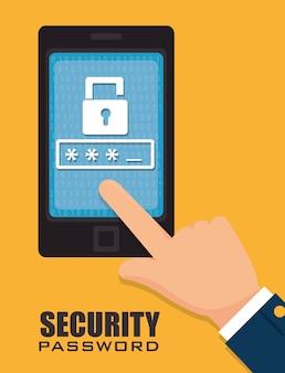 Diseño de tecnología de sistema de seguridad en estilo plano