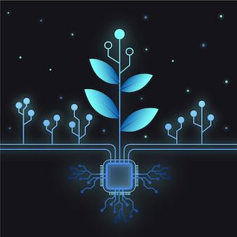 Diseño tecnológico para el concepto de ecología.