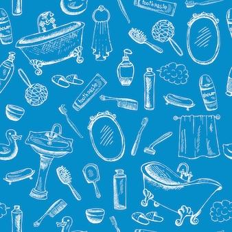 Diseño temático de baño sobre fondo azul con ilustraciones de toallas de bañera de pasta de dientes y más.
