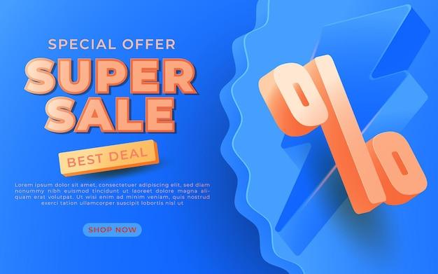 Diseño de templete de banner de súper venta para promociones de medios y promoción de redes sociales