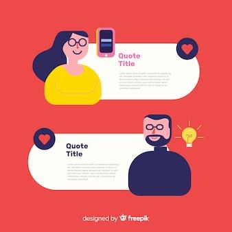 Diseño de testimonial con concepto de burbujas de texto
