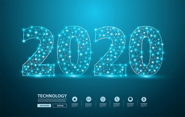 Diseño de texto de año nuevo 2020 con números de letras del alfabeto elegantes de malla