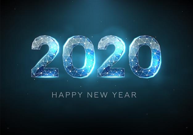 Diseño de texto azul 2020. estructura metálica de baja poli. feliz año nuevo.