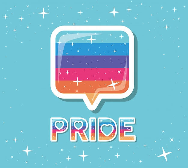Diseño de texto de burbuja y orgullo lgtbi