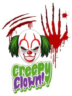 Diseño de texto cleepy clown con payaso aterrador