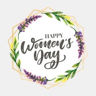 Diseño de texto del día de la mujer con flores