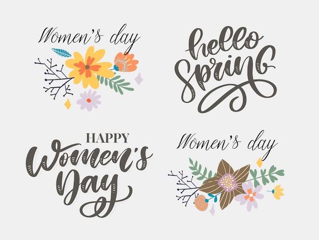 Diseño del texto del día de la mujer y hola primavera con flores