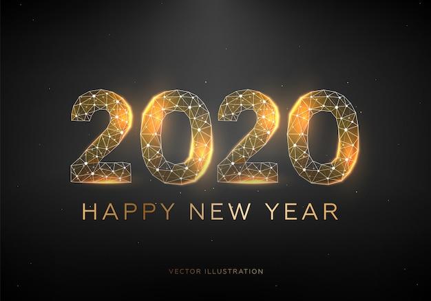 Diseño de texto dorado 2020. estructura metálica de baja poli. feliz año nuevo.