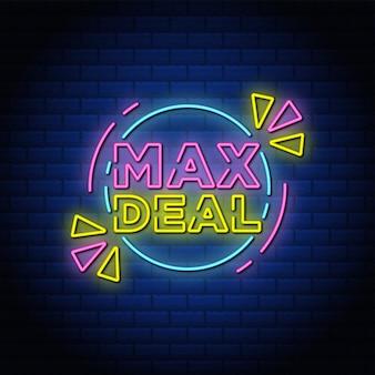 Diseño de texto de estilo de letrero de neón de max deal con pared de ladrillos azules.