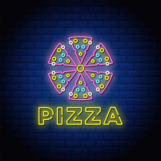 Diseño de texto de estilo de letreros de neón de pizza con pared de ladrillo de color azul.