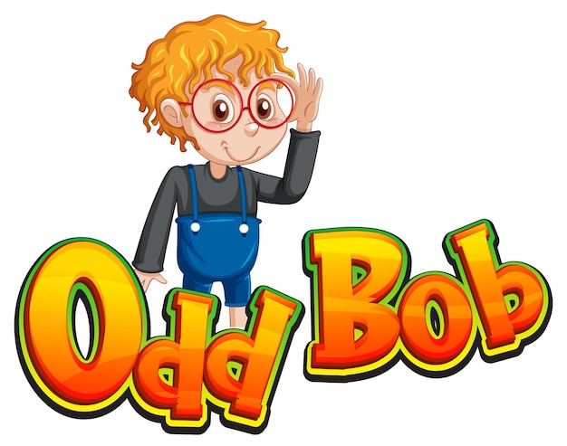 Diseño de texto del logo de bob extraño con chico nerd