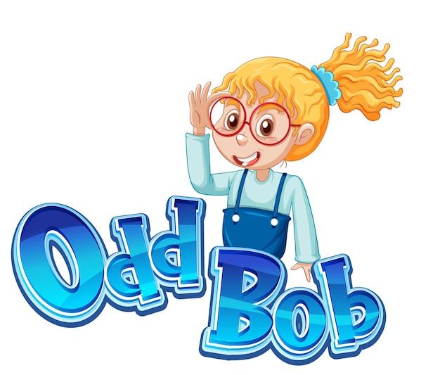 Diseño de texto del logo odd bob con chica nerd
