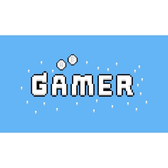 Diseño de texto de pixel art cartoon gamer.