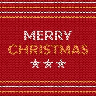 Diseño de texto de tejer feliz navidad con tres estrellas
