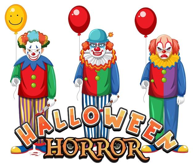 Diseño de texto de terror de halloween con payasos espeluznantes