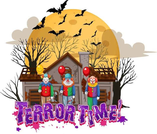 Diseño de texto terror time con haunted house