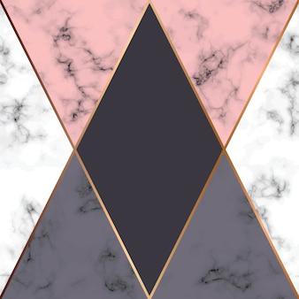 Diseño de textura de mármol de vector con líneas geométricas de oro, superficie de veteado en blanco y negro