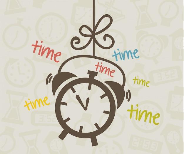 Diseño de tiempo sobre fondo beige ilustración vectorial