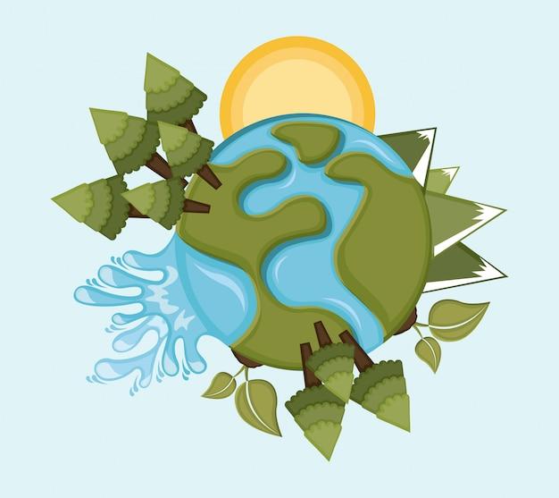 Diseño de la tierra sobre fondo azul ilustración vectorial