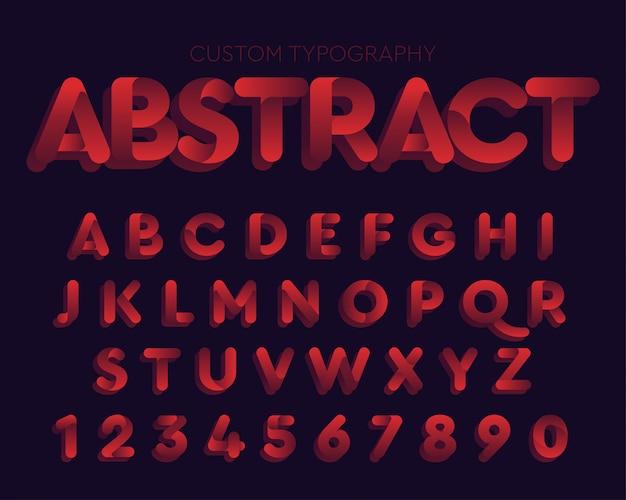 Diseño de tipografía abstracta curvas rojas
