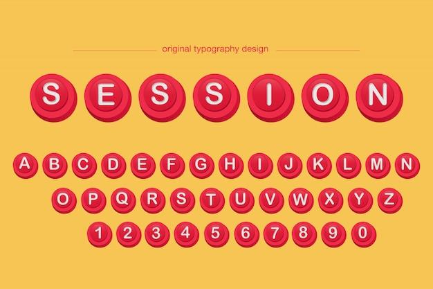 Diseño de tipografía de botón rojo biselado 3d.